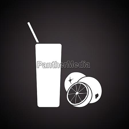 orange juice glass icon black background