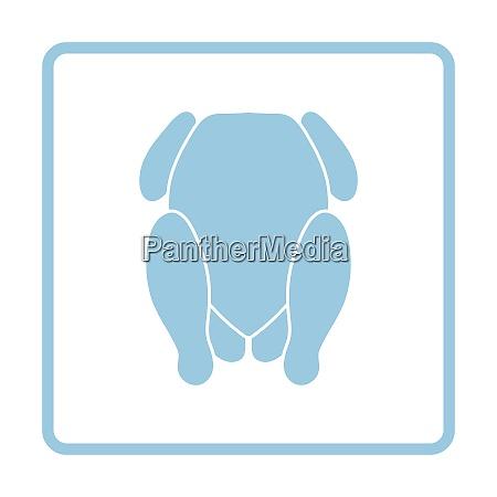 chicken icon blue frame design vector