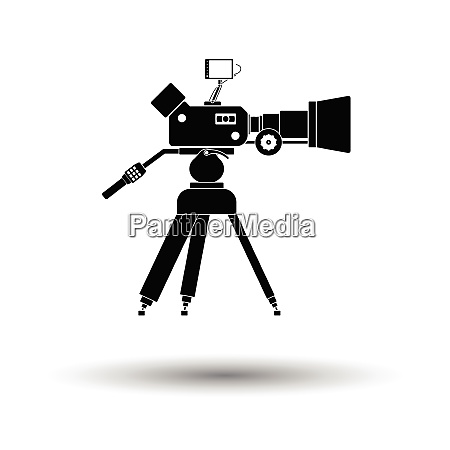 movie camera icon white background with