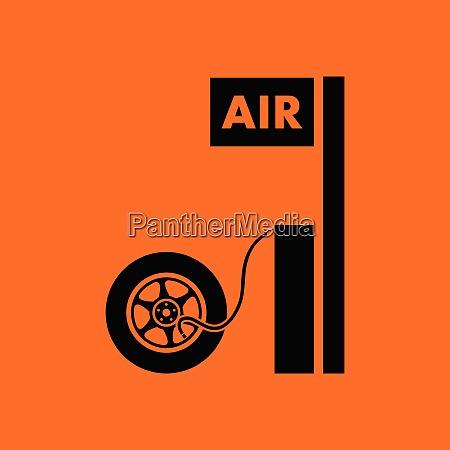 wheels pump station icon orange background