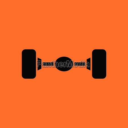 car rear axle icon orange background