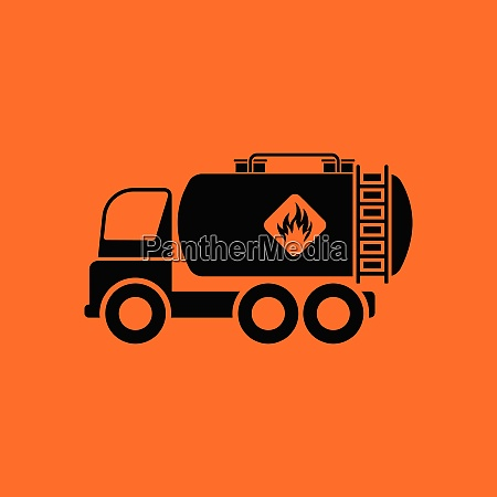 oil truck icon orange background with