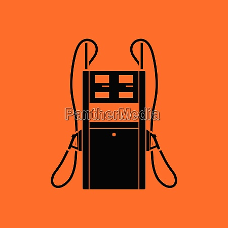 fuel station icon orange background with