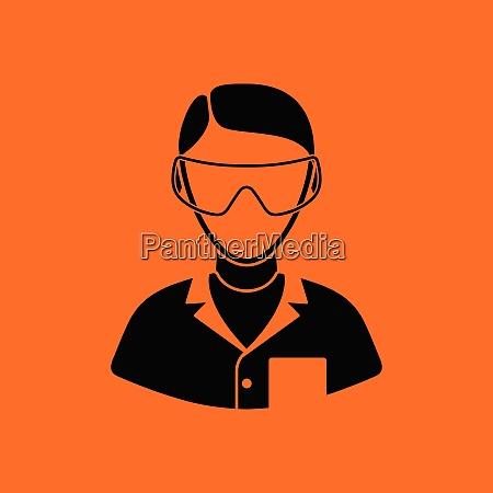 icon of chemist in eyewear orange