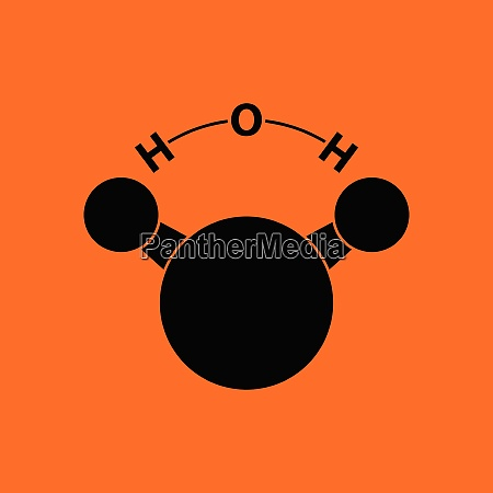 icon of chemical molecule water orange