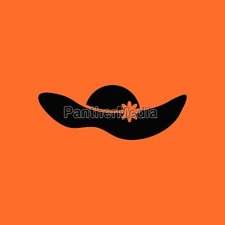 elegant woman hat icon orange background