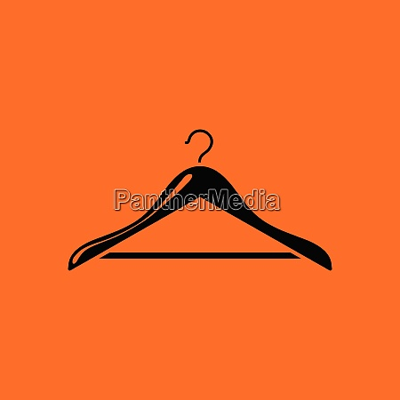 cloth hanger icon orange background with
