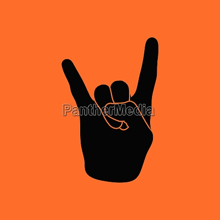rock hand icon orange background with