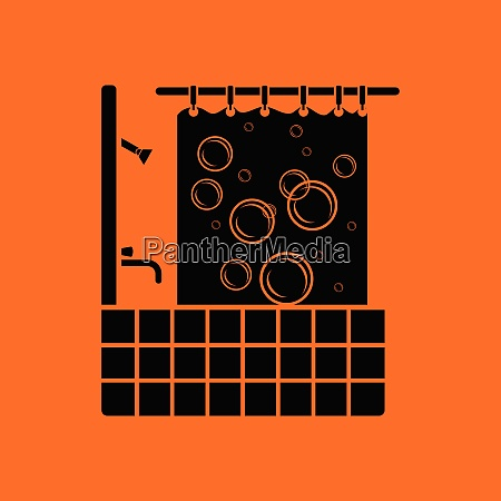 hotel bathroom icon orange background with