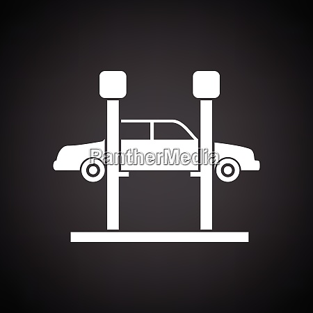 car lift icon black background with