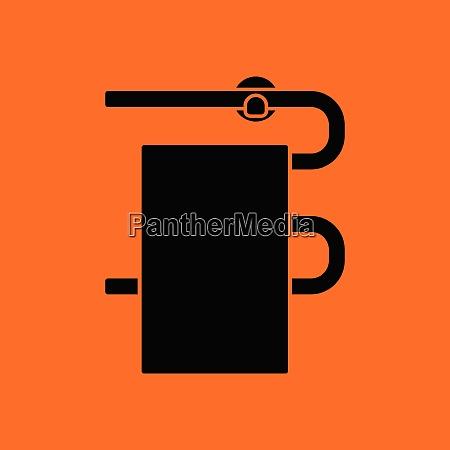 heated towel rail icon orange background