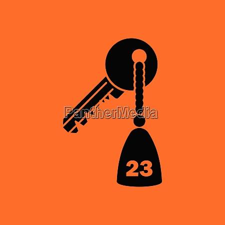 hotel room key icon orange background
