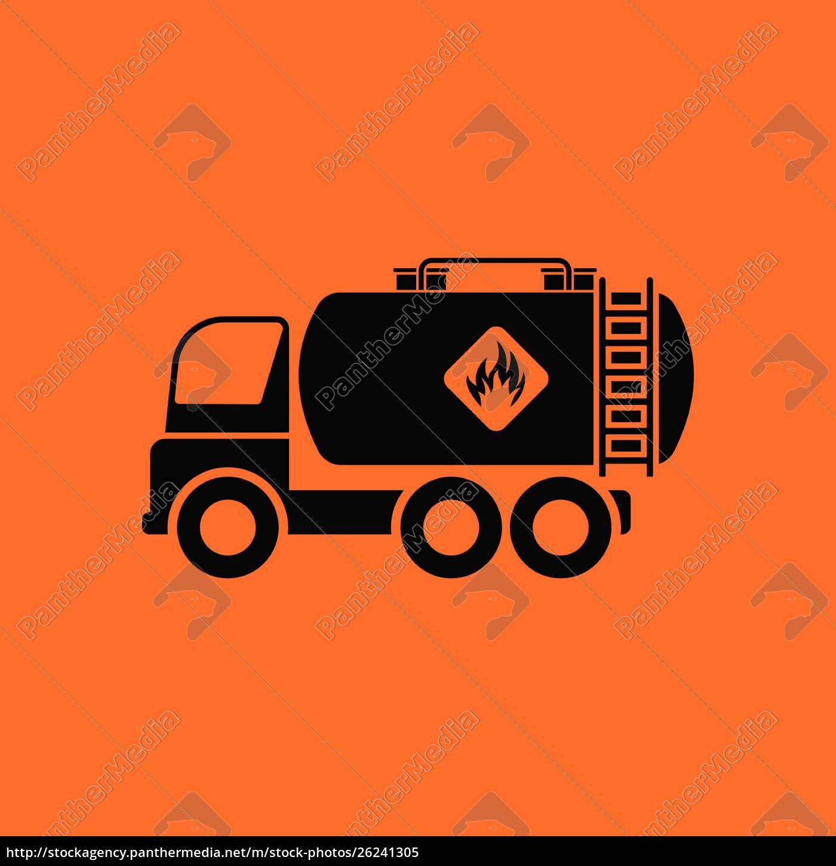 oil, truck, icon., orange, background, with - 26241305