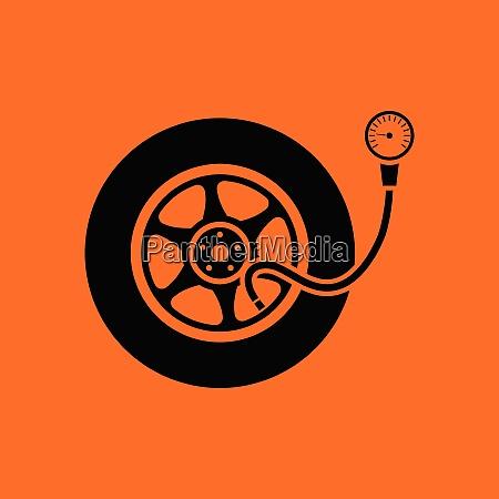 tire, pressure, gage, icon., orange, background - 26241174