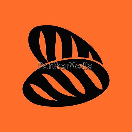 bread icon orange background with black