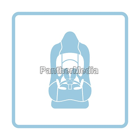 baby car seat icon blue frame