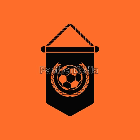 football pennant icon orange background with