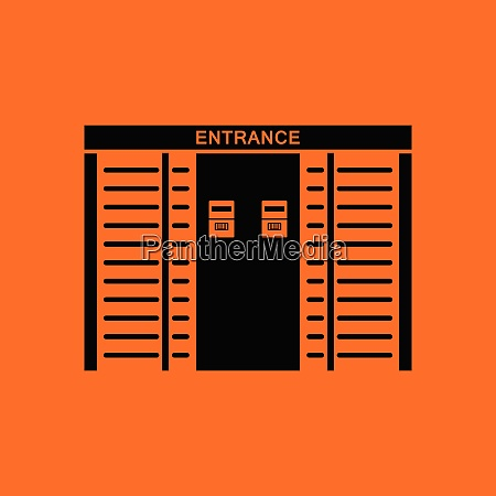 stadium entrance turnstile icon orange background