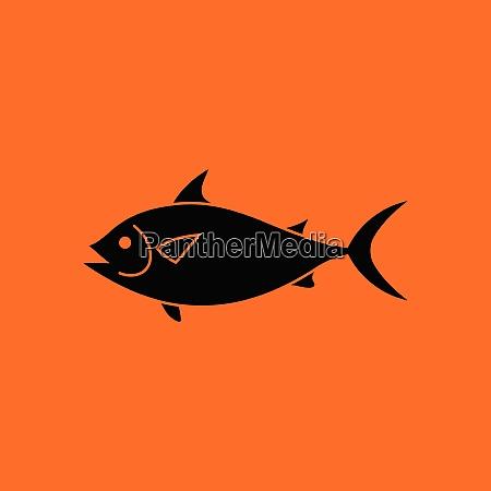 fish icon orange background with black