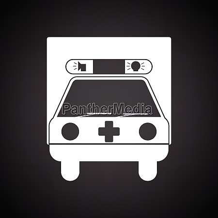 ambulance car icon black background with