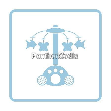 baby carousel icon blue frame design
