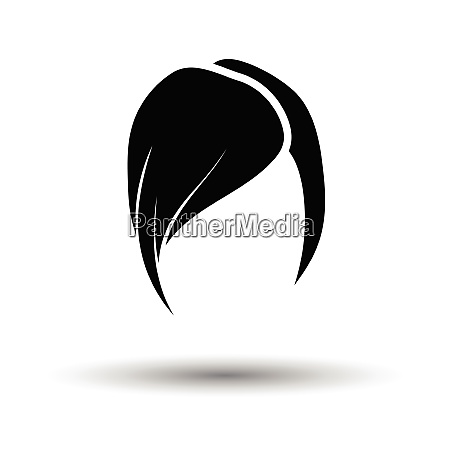 ladys hairstyle icon white background with