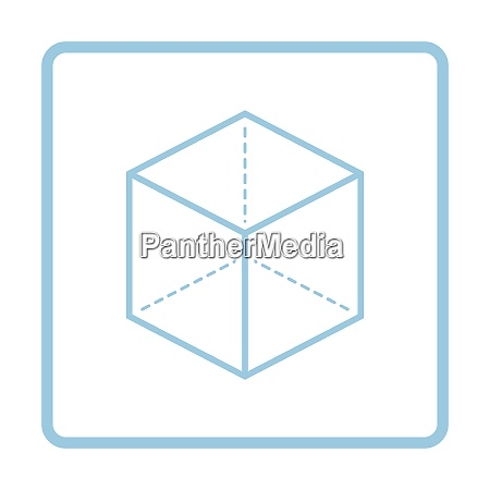 cube with projection icon blue frame