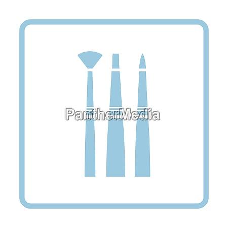 paint brushes set icon blue frame