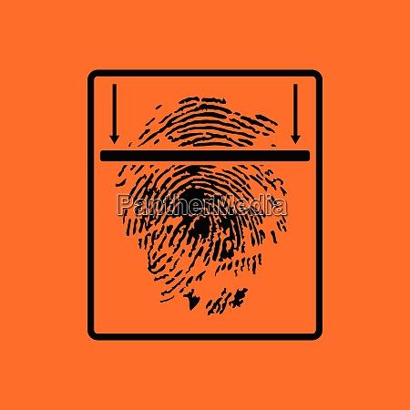 fingerprint scan icon orange background with