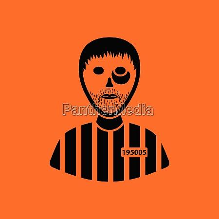 prisoner icon orange background with black