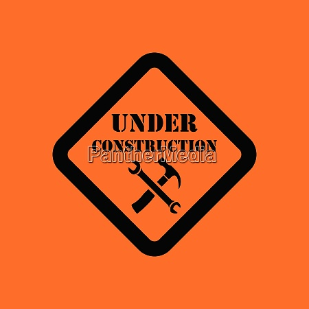 icon of under construction orange background
