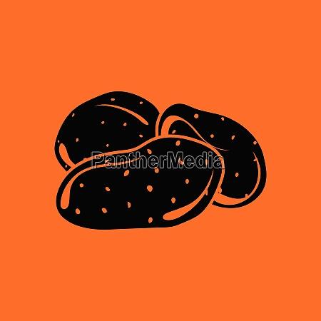 potato icon orange background with black