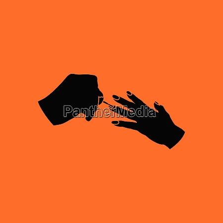 manicure icon orange background with black
