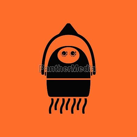 hairdryer icon orange background with black