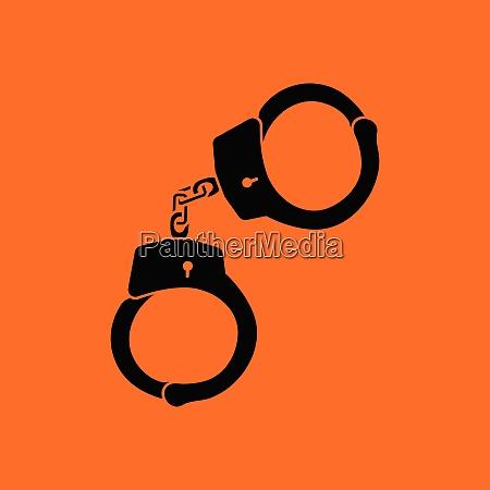 handcuff icon orange background with