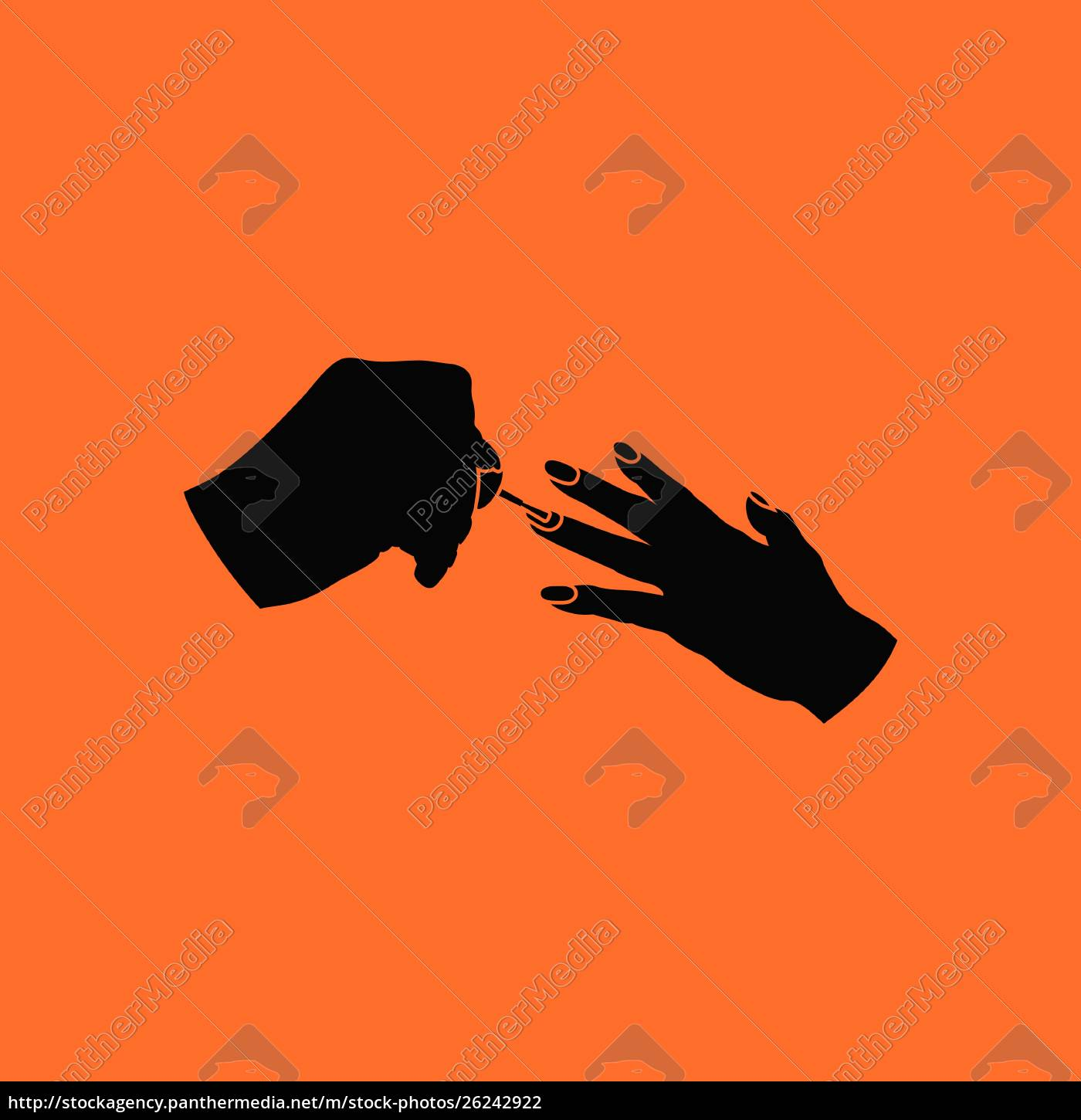manicure, icon., orange, background, with, black. - 26242922