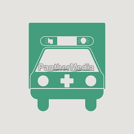 ambulance car icon gray background with