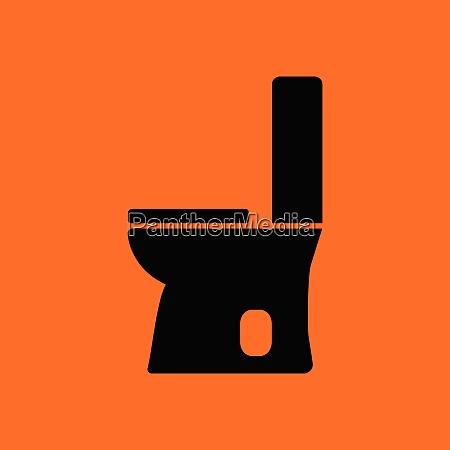 toilet bowl icon orange background with