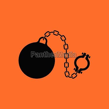 fetter with ball icon orange background