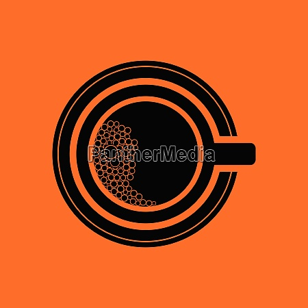 coffee cup icon orange background with