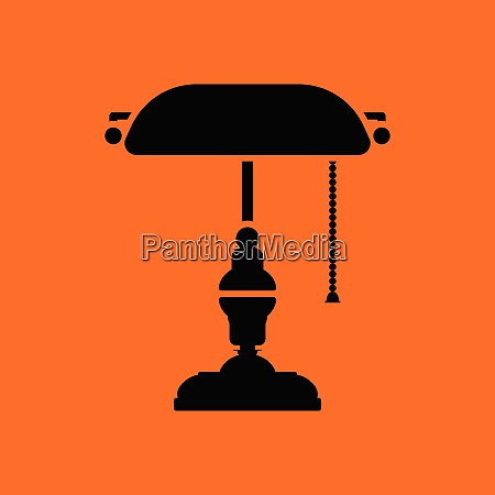 writers lamp icon orange background with