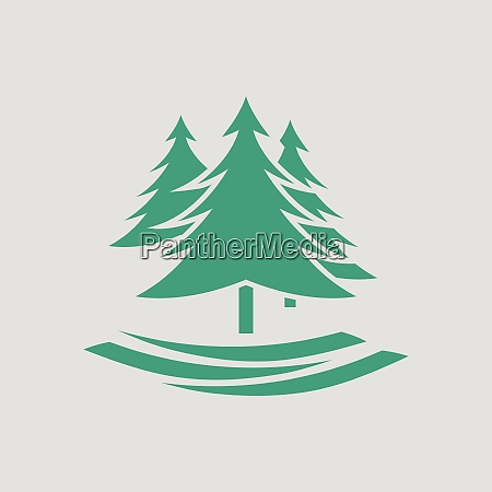 fir forest icon gray background