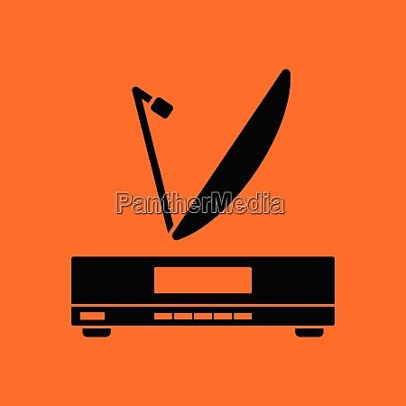 satellite receiver with antenna icon orange