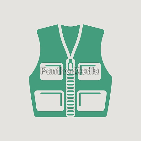 hunter vest icon gray background with