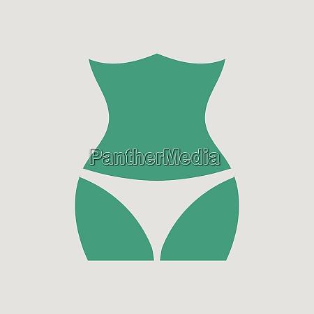 slim waist icon gray background with