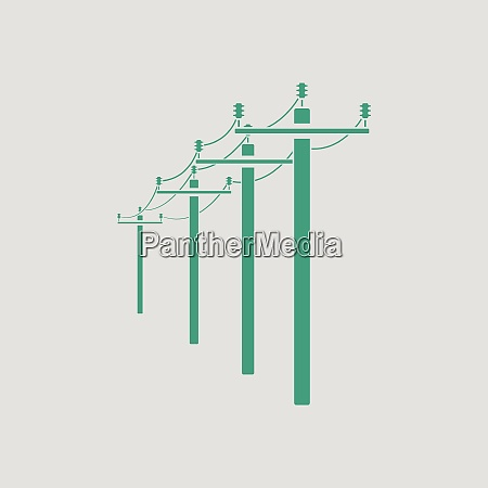 high voltage line icon gray background