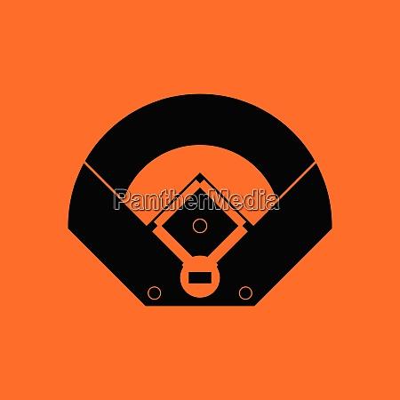 baseball field aerial view icon orange