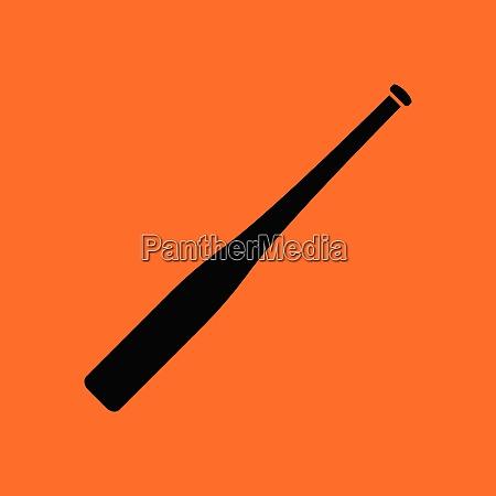 baseball bat icon orange background with