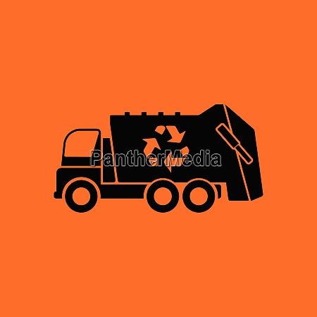 garbage car recycle icon orange background