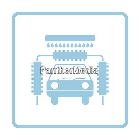 car wash icon blue frame design
